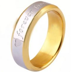 COI Titanium Gold Tone Silver Forever Love Heart Beveled Edges Ring-5253