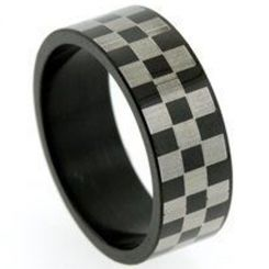 COI Titanium Black Silver Checkered Flag Pipe Cut Flat Ring-5256