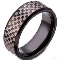 COI Titanium Black Silver Checkered Flag Beveled Edges Ring-5257
