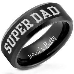 COI Black Titanium Super Dad Beveled Edges Ring-5259