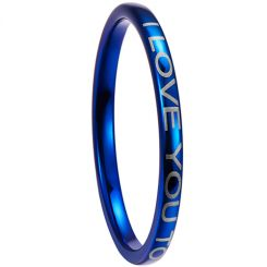 COI Blue Titanium I Love You Dome Court Ring-5265