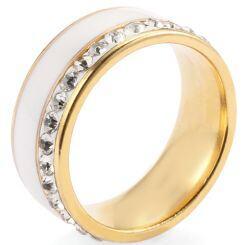 COI Gold Tone Titanium Ring With White Ceramic and Cubic Zirconia-5277