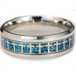 COI Titanium Gold Tone Blue Cross Beveled Edges Ring-5285