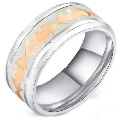COI Titanium Rose Tone Batman Ring With White Ceramic-5286