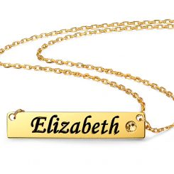 COI Gold Tone Titanium Custom Name Pendant With Stainless Steel Chain and Cubic Zirconia-5312