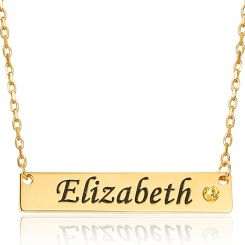 COI Gold Tone Titanium Custom Name Pendant With Stainless Steel Chain & Cubic Zirconia-5317