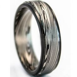 COI Titanium Black Silver Damascus Step Edges Ring-5322