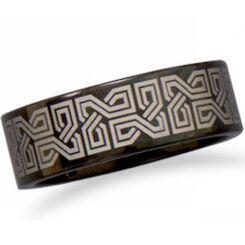 COI Black Titanium Celtic Pipe Cut Flat Ring-5327