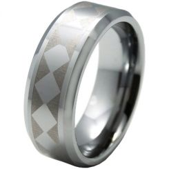 COI Titanium Checkered Flag Beveled Edges Ring-5328