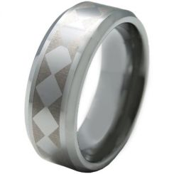COI Titanium Checkered Flag Beveled Edges Ring-5328