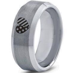 COI Titanium American Heart Beveled Edges Ring-5331