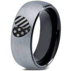 COI Titanium Black Silver American Heart Dome Court Ring-5332