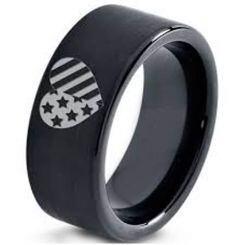 COI Black Titanium American Heart Pipe Cut Flat Ring-5333