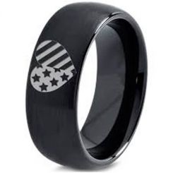 COI Black Titanium American Heart Dome Court Ring-5334