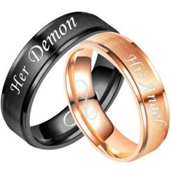 COI Titanium Black/Rose Her Damon His Angel Step Edges Ring-5335