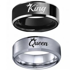 COI Titanium Black/Silver King Queen Crown Beveled Edges Ring-5337