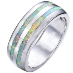 COI Titanium Crashed Opal Dome Court Ring-5349
