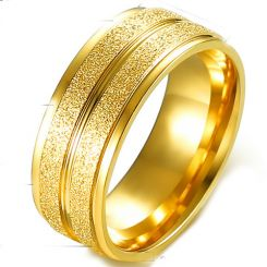 COI Gold Tone Titanium Sandblasted Ring-5363