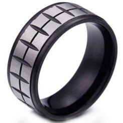 COI Titanium Black Silver Grooves Step Edges Ring-5374