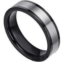 COI Titanium Black Silver Pipe Cut Flat Ring-5388