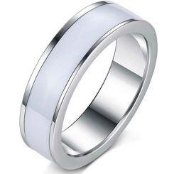 COI Titanium Ring With White Ceramic-5392