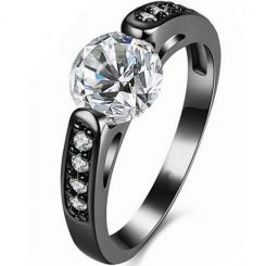 COI Black Titanium Solitaire Ring With Cubic Zirconia-5394