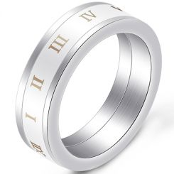 COI Titanium White Ceramic Ring With Roman Numerals-5396