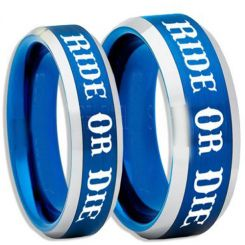 COI Titanium Blue Silver Ride or Die Beveled Edges Ring-5408