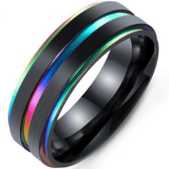 COI Black Titanium Rainbow Pride Step Edges Ring-5412
