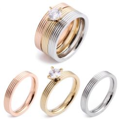 COI Titanium Rose Gold Tone Silver Ring Set With Cubic Zirconia(A Set with 3 Rings)-5416