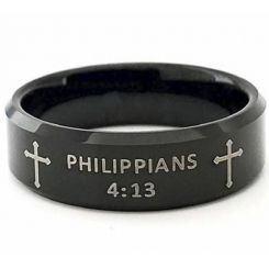 COI Black Titanium Cross Beveled Edges Ring With Custom Scripture- 5418