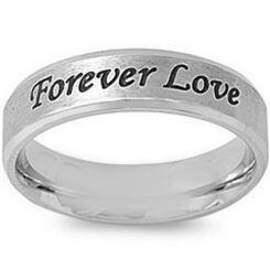 COI Titanium Forever Love Beveled Edges Ring-5419