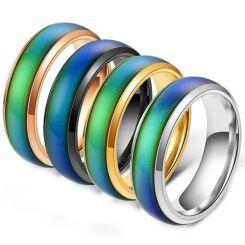 COI Titanium Rainbow Pride Beveled Edges Ring-5423