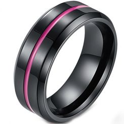 COI Black Titanium Purple Rose Center Groove Beveled Edges Ring-5427