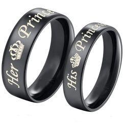 COI Black Titanium Her Prince His Princess Crown Dome Court Ring-5437
