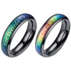 COI Black Titanium Rainbow Pride HIs Crazy Her Weirdo Ring-5438