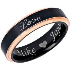COI Titanium Black Rose Love Step Edges Ring-5448