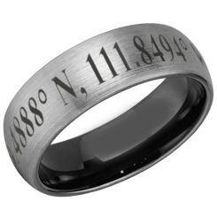 COI Titanium Black Silver Dome Court Ring With Custom Co-ordinate-5481