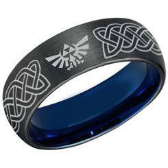 COI Titanium Black Blue Legend of Zelda Celtic Dome Court Ring-5486