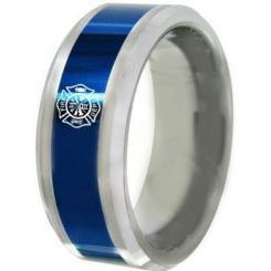 COI Titanium Blue Silver Firefighter Beveled Edges Ring-5488