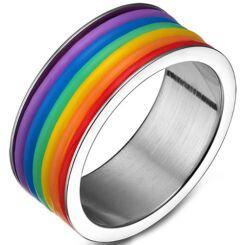 COI Titanium Rainbow Pride Ring-5503