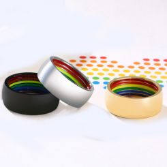COI Titanium Silver/Rose/Black Rainbow Pride Dome Court Ring-5504