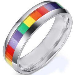 COI Titanium Rainbow Pride Beveled Edges Ring-5506