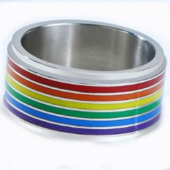 COI Titanium Rainbow Pride Ring-5507
