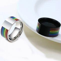 COI Titanium Silver/Black Rainbow Pride Signet Ring With Custom Engraving-5508