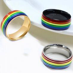 COI Titanium Silver/Black/Rose Rainbow Pride Dome Court Ring-5509