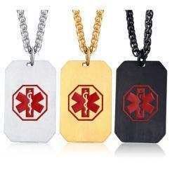 COI Titanium Silver/Gold Tone/Black Medic Alert Tag Pendant-5526