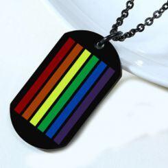 COI Black Titanium Rainbow Pride Tag Pendant-5527