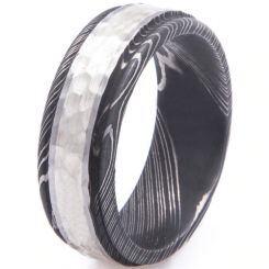 COI Titanium Black Silver Hammered Damascus Ring-5530