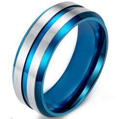 COI Titanium Blue Silver Center Groove Beveled Edges Ring-5538